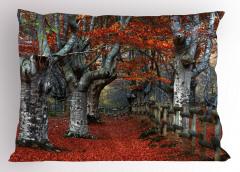 Turuncu Yapraklı Ağaç Yastık Kılıfı Turuncu Yaprak Doğa