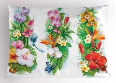 Tropikal Renkli Çiçek Yastık Kılıfı Tropikal Çiçekler Turuncu