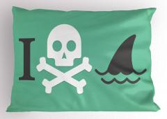 Kuru Kafa Köpek Balığı Yastık Kılıfı Kurukafa Köpek Balığı Siyah Beyaz