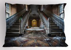 Hasarlı Bina Temalı Yastık Kılıfı Kahverengi Merdiven