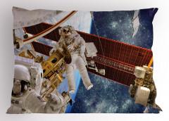 Astronot Temalı Yastık Kılıfı Uzay Beyaz Gezegen Mavi
