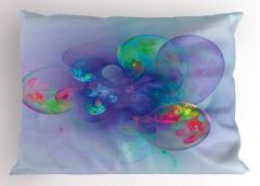 Mavi Pembe Mor Balon Yastık Kılıfı Mavi Fonlu