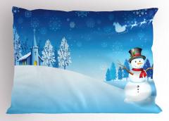 Kardan Adam ve Kilise Yastık Kılıfı Mavi Beyaz
