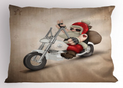 Motorcu Noel Baba Yastık Kılıfı Bej Arka Plan