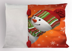 Kardan Adam Desenli Yastık Kılıfı Kırmızı Yeşil Kar