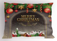 Noel Temalı Yastık Kılıfı Kar Kulübe Yılbaşı Süsü