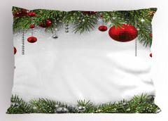 Yılbaşı Ağacı Temalı Yastık Kılıfı Kırmızı Yeşil Beyaz