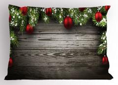 Noel Ağacı Temalı Yastık Kılıfı Kahverengi Kırmızı Süs