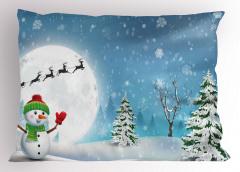Kardan Adam Desenli Yastık Kılıfı Çam Kar Mavi Beyaz