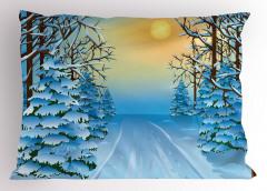 Karlı Orman Gün Batımı Yastık Kılıfı Mavi Beyaz Kar Gün Batımı