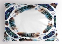 Kuş Tüyü Desenli Yastık Kılıfı Mavi Şık Tasarım Trend