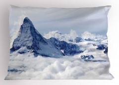 Karlı Dağ Manzaralı Yastık Kılıfı Kar Gökyüzü Bulut