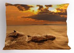 Okyanustaki Yunuslar Yastık Kılıfı Turuncu