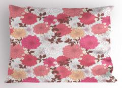 Pembe Çiçekli Desen Yastık Kılıfı Pembe Çiçekli Şık Tasarım