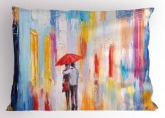 Yağmurda Yürüyen Aşık Yastık Kılıfı Romantik Yağmur