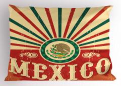 Meksika Bayrağı Desenli Yastık Kılıfı Kırmızı Yeşil
