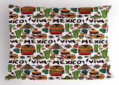 Meksika Gitar ve Kaktüs Yastık Kılıfı Şık
