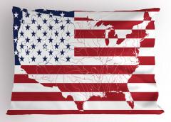 ABD Bayrağı ve Harita Yastık Kılıfı Dekoratif