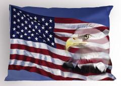 Kartal ve ABD Bayrağı Yastık Kılıfı Bordo Mavi