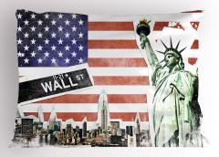 ABD Bayrağı ve New York Yastık Kılıfı Kırmızı