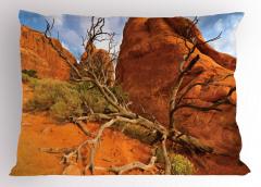 Dağ ve Ağaç Desenli Yastık Kılıfı Gökyüzü Kahverengi