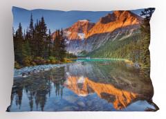 Karlı Dağlar ve Nehir Yastık Kılıfı Ağaç Gökyüzü Doğa