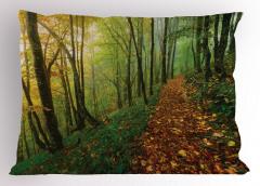 Yapraklı Yol Desenli Yastık Kılıfı Yeşil Kahverengi