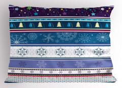 Kar Taneleri Yastık Kılıfı Kar Mavi Mor Şık Tasarım