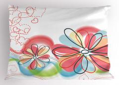 Çiçek ve Kalp Desenli Yastık Kılıfı Pembe Çeyizlik Şık