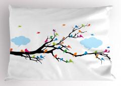 Daldaki Kuşlar Temalı Yastık Kılıfı Rengarenk Şık