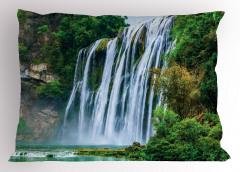 Şelale Manzaralı Yastık Kılıfı Yeşil Ağaç Orman Doğa