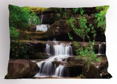 Ormandaki Şelale Temalı Yastık Kılıfı Ağaç Doğa Huzur