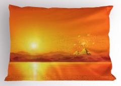 Mısır Piramitleri Desenli Yastık Kılıfı Deniz ve Güneş