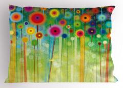 Rengarenk Çiçekler Yastık Kılıfı Geometrik Dekoratif