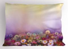 Sulu Boya Çiçekler Yastık Kılıfı Mor Fonlu Dekoratif