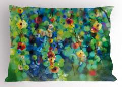 Yeşil Daldaki Çiçekler Yastık Kılıfı Rengarenk Şık