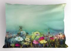 Pembe Sarı Çiçekler Yastık Kılıfı Beyaz Fonlu Şık