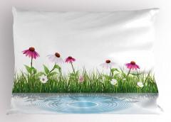 Pembe Beyaz Çiçekler Yastık Kılıfı Dekoratif Çeyizlik
