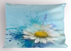 Papatya Desenli Şık Yastık Kılıfı Çiçekli Mavi Beyaz Sarı