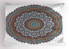 Çiçek Desenli Yastık Kılıfı Mandala Trend Turuncu