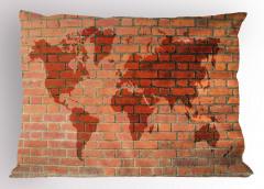 Dünya Haritası Desenli Yastık Kılıfı Tuğla Efektli