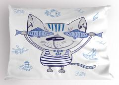 Sevimli Kedi ve Balık Yastık Kılıfı Denizci Kedi ve Balıklar