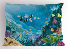 Deniz Altında Yaşam Yastık Kılıfı Okyanus Altı Yaşam Temalı