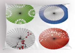 Japon Şemsiyesi Desenli Yastık Kılıfı Rengarenk Şık