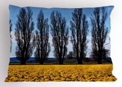 Ağaç ve Çiçek Temalı Yastık Kılıfı Sarı Mavi Gökyüzü