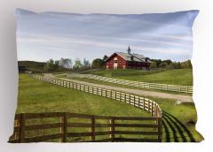 Çiftlik Manzaralı Yastık Kılıfı Yeşil Mavi Gökyüzü