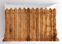 Ahşap Çit Temalı Yastık Kılıfı Kahverengi Beyaz Bahçe