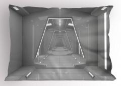 Uzay İstasyonu Temalı Yastık Kılıfı Gri 3D Etkili