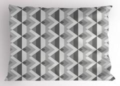 Gri Geometrik Desenli Yastık Kılıfı Dekoratif Şık