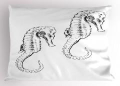 Siyah Denizatı Desenli Yastık Kılıfı Beyaz Şık Tasarım